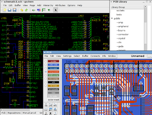 Two major components of geda: Schematic capture with gschem and layout artwork with PCB