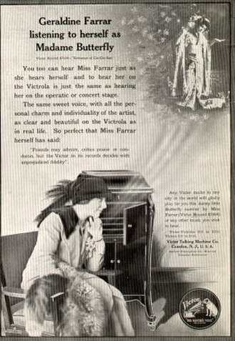 1914 in music - Geraldine Farrar in a 1914 Victrola advertisement