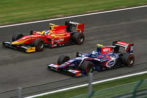 Formula racing - Fabio Leimer overtakes Jolyon Palmer during the 2013 Belgian GP2 race