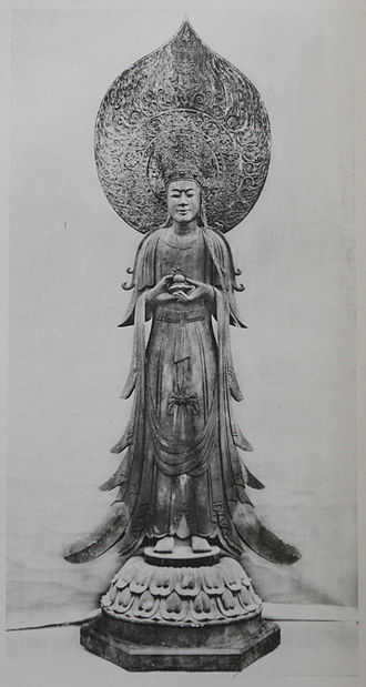 Seong of Baekje - Guze Kannon is a statue made in the image of King Seong in the Korean style.