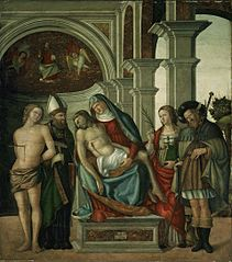 Virgin Holding the Dead Christ, with Saints Sebastian, Blaise, Margaret and James the Great