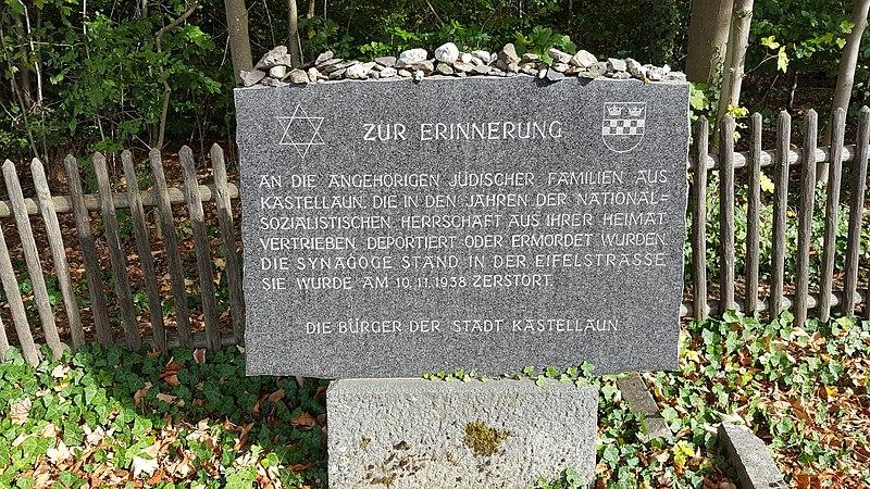 Datei:Gedenktafel, Jüdischer Friedhof Kastellaun.jpg