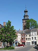 Gembloux: the town hall square and belfry