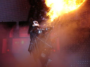 Gene Simmons - Gene Simmons fire breathing.