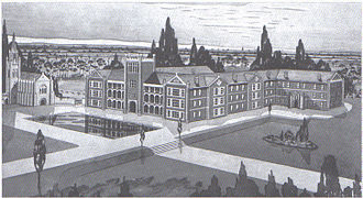Aquinas College, Perth - Christian Brothers College student Geoff Robins' 1937 impression painting of Aquinas