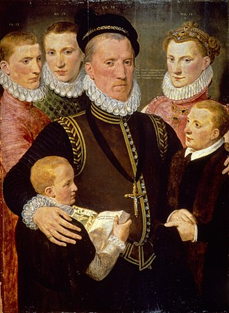George Seton, 7th Lord Seton - George, Lord Seton, and his family, painted 1572 by Frans Pourbus the Elder while Seton was in the Spanish Netherlands.