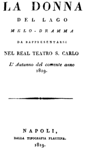 Gioachino Rossini - La donna del lago - titlepage of the libretto - Naples 1819.png