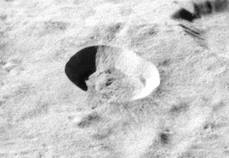 Giordano Bruno (crater) - Oblique view from Apollo 16 showing the small crater itself, unobscured by its rays.