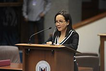Grace Poe delivering a privilege speech.jpg