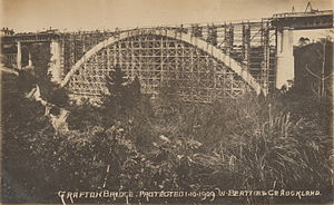 Grafton Bridge - Photograph of Grafton Bridge during construction, with scaffolding beneath the single main arch