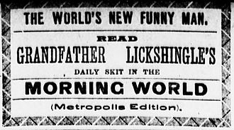 """Robert W. Criswell - 1890 promotion for """"Grandfather Lickshingle"""" columns"""