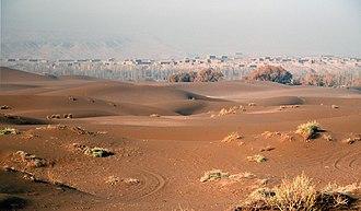Shanshan County - Sheds for drying grapes in the desert outside Shanshan