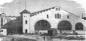 Great Central Station - Illustration of the rail house train shed which appeared in Frank Leslie's Illustrated Newspaper in 1856, shortly after the station opened.