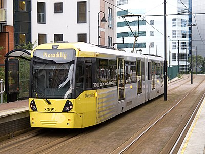 A Metrolink tram in Salford Quays