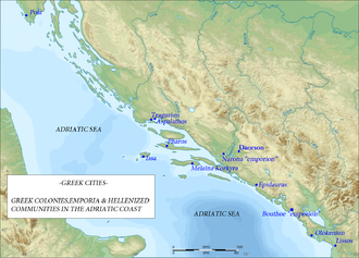 Daorson - Map depicting the Adriatic Searegion in PreRoman time, showing several Illyrian tribes and the extent of the territory of some tribes.