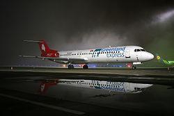 Greenland Express Fokker F100 at Lviv International Airport (original).jpg