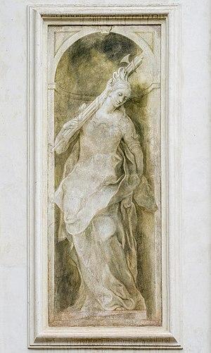 Allegoric figure with fasces in a grisaille fresco by Enrico Albrici on the facade of the Santa Maria della Carità church in Brescia.