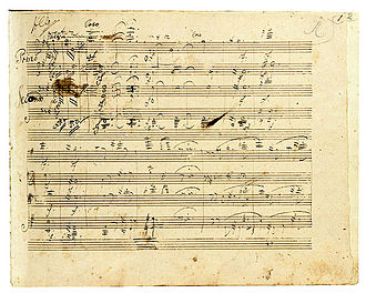 Late string quartets (Beethoven) - Manuscript of Beethoven's Große Fuge, arranged for piano four hands