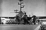 Grumman S2F-1 Trackers of VS-38 are launched from USS Princeton (CVS-37), circa in 1957.jpg