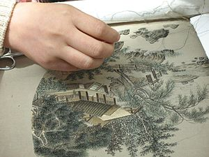 Chinese embroidery - Gu embroidery being created.
