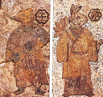 Chinese painting - Animalistic guardian spirits of midnight and morning wearing Chinese robes, Han Dynasty (202 BCE – 220 CE) on ceramic tile