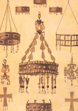 Treasure of Guarrazar - Votive crowns and crosses, from a 19th-century lithograph.