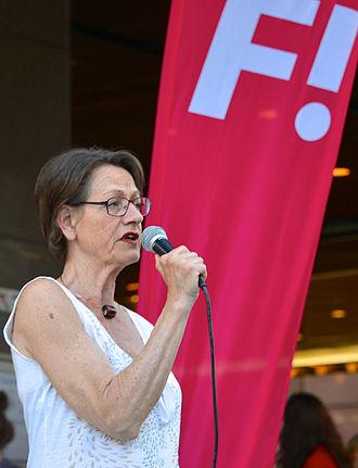 Feminism in Sweden - Gudrun Schyman speaks on behalf of the Feminist Initiative (Fi), 2014, in Stockholm.