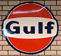 Gulf enamel advert sign at the den hartog ford museum pic-070.JPG
