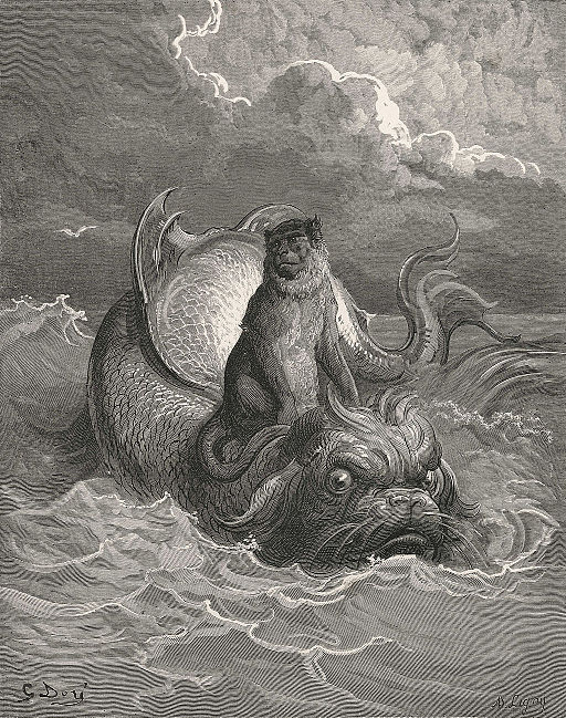 Gustave Doré - The Monkey and the Dolphin