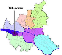Location of Finkenwerder in Hamburg