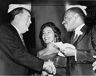 Coretta Scott King - Coretta Scott with her husband and Vice President-elect Hubert Humphrey on December 17, 1964