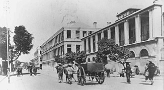 History of Hong Kong (1800s–1930s) - Naval Dockyard buildings (centre), Queen's Road, 1894