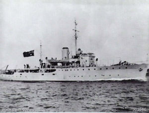 HMAS Toowoomba during sea trials in 1941