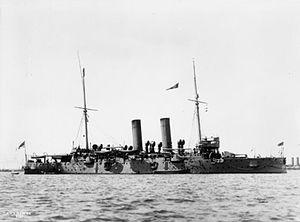British Edgar class protected cruiser HMS HAWKE.