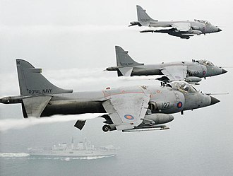 Operation Grapple (Yugoslavia) - Sea Harriers from HMS Invicible based in the Adriatic Sea during Operation Grapple, supporting UNPROFOR in Bosnia. On 20 September 1993 HMS Invincible hosted unsuccessful Warring Parties Peace Talks, hosted by Lord Owen and Mr Stoltenborg. In April 1994 a Sea Harrier was shot down on a mission near Gorazde, the pilot ejected safely and was recovered