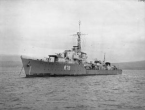 South African Navy - SAS Jan van Riebeeck pictured when still named HMS Wessex