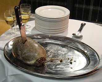 Haggis - Haggis on a platter at a Burns supper