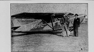Hall Caine Airport - Derwent Hall Caine pictured with his Leopard Moth at Close Lake Airfield, April 1935.