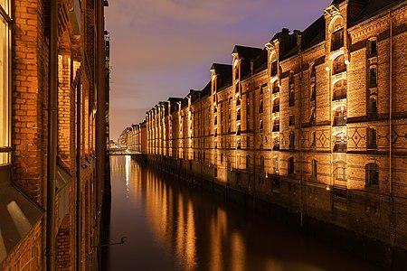Hamburg's Speicherstadt at night