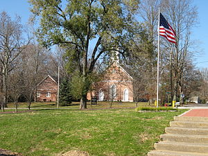 Hanover, Indiana - The Hanover Presbyterian Church, as viewed from Fireman's Park.