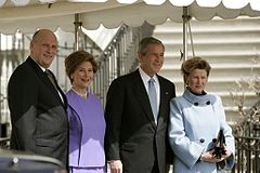 The King and Queen, greeted by Laura and George W. Bush at the White House during the March 2005 State Visit to the U.S.