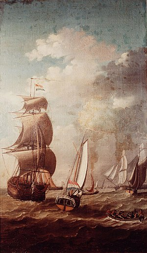 Admiralty of Friesland - Two boats of the Frisian Admiralty (foreground)