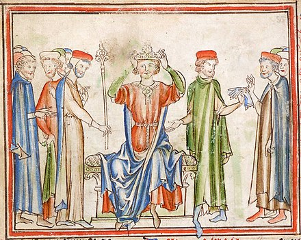 13th-century version of Harold's crowning, from an anonymous Life of King Edward the Confessor in Cambridge University Library. Harold Godwinson 02.jpg