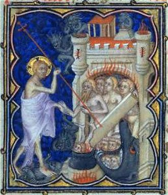 The Tower (Tarot card) - In this manuscript picture of the Harrowing of Hell, Jesus forces open the fiery tower gate of Hell to free the virtuous dead from Limbo.  The enactment of this scene in liturgical drama may be one source of the image of the Tower.