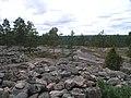 Hautaröykkiöryhmä horisonttinäkymällä stone heap tombs from the Bronze Age on the hill with a view to the horizon.jpg
