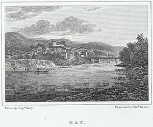 Hay Castle - Depiction of Hay-on-Wye in 1823, showing the castle overlooking the town