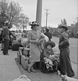 Hayward, California. With baggage piled on sidewalk, evacuees of Japanese ancestry await evacuation . . . - NARA - 537523.jpg