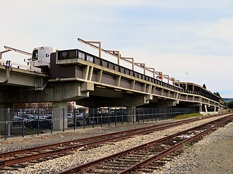 Hayward station (BART) - Hayward station and adjacent freight tracks in March 2018