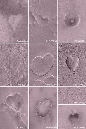 Mars Orbiter Camera - Heart-shaped features on Mars (MGS, MOC, February 14, 2004).