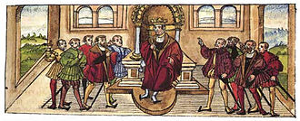 Henry (VII) of Germany - King Henry receives homage in Würzburg in 1234, from the 16th-century Bishop's Chronicle by Lorenz Fries